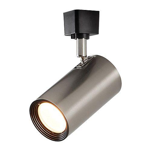 Projecteur cylindrique à DEL pour rail droit, fini nickel brossé