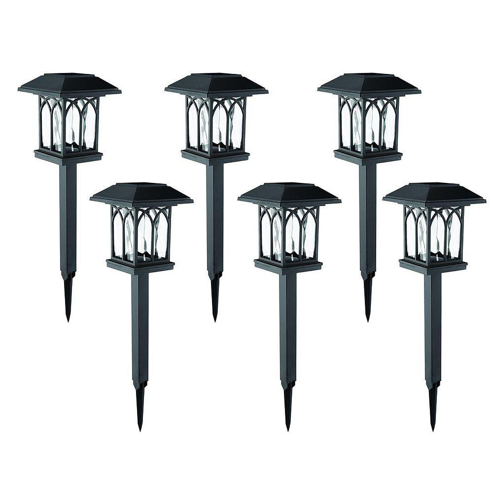 Hampton Bay 10 Lumen Solar LED Black Landscape Pathway Light (6-Pack)