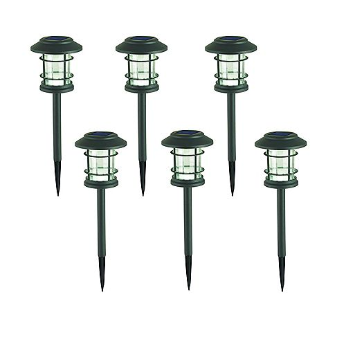 Hampton Bay 10 Lumens Solar LED Grey Zinc Landscape Pathway Light (6-Pack)