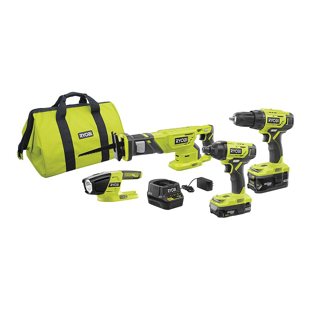 RYOBI 18V ONE+ Lithium-Ion Cordless 4-Tool Combo Kit with (2) Batteries, Charger, and Bag