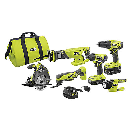 18V ONE+ Lithium-Ion Cordless 6-Tool Combo Kit with (2) Batteries, Charger, and Bag