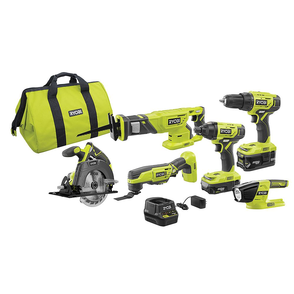 RYOBI 18V ONE+ Lithium-Ion Cordless 6-Tool Combo Kit with (2) Batteries, Charger, and Bag