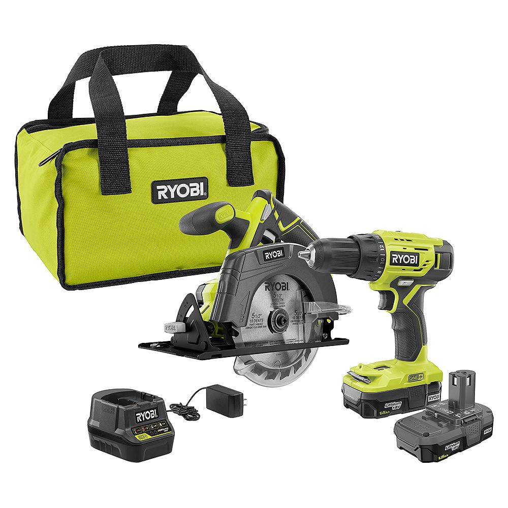 RYOBI 18V ONE+ Lithium-Ion Cordless Kit w/ Drill/Driver, Circular Saw, (2) 1.5 Ah Batteries and Charger