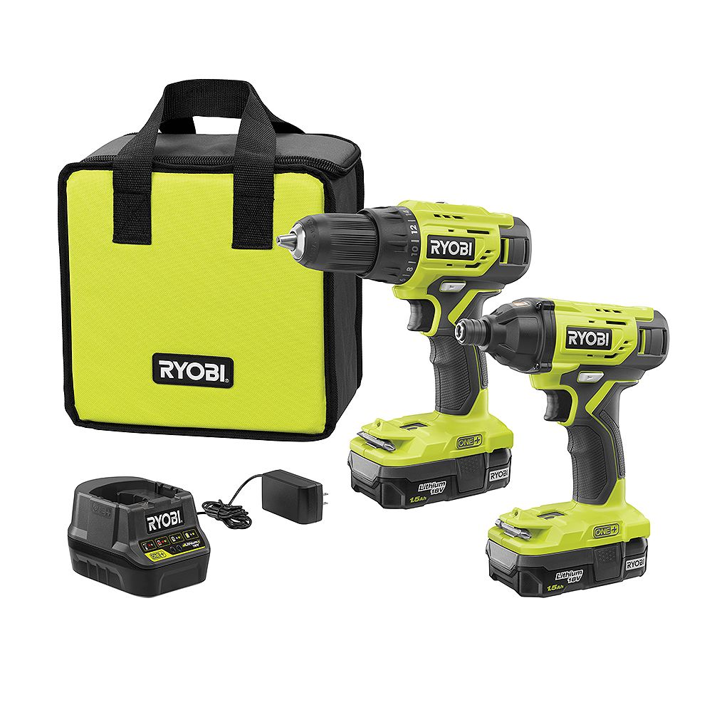 RYOBI 18V ONE+ Lithium-Ion Cordless 2-Tool Combo Kit with (2) 1.5 Ah Batteries, 18V Charger, and Bag