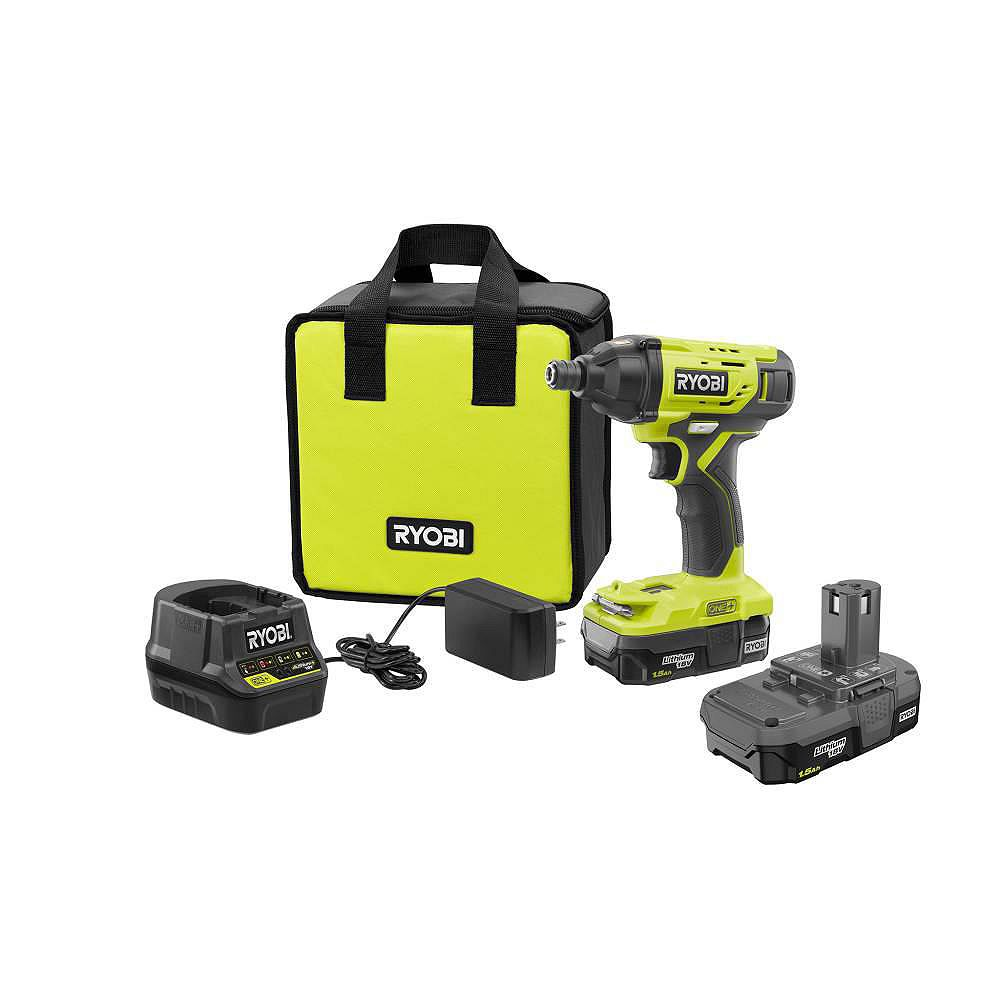 RYOBI 18V ONE+ Lithium-Ion Cordless 1/4 -inch Impact Driver Kit w/(2) 1.5 Ah Batteries, Charger, and Bag