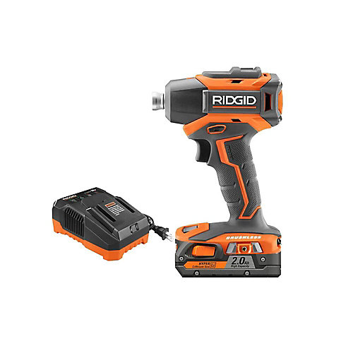 18V Lithium-Ion Cordless Brushless 1/4 -inch Impact Driver Kit with 2.0 Ah Battery and Charger