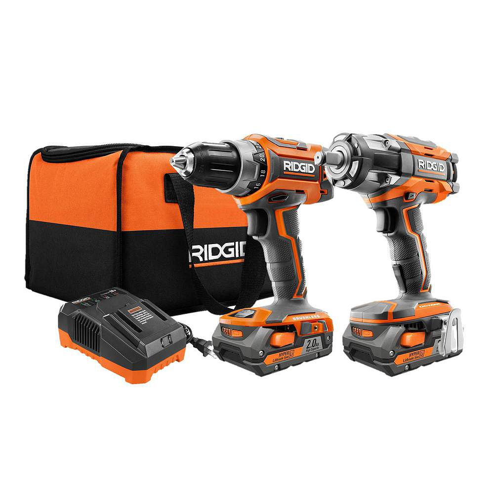 RIDGID 18V Lithium-Ion Cordless Brushless Drill/Driver and Impact Wrench Kit with (2) 2.0 Ah Batteries