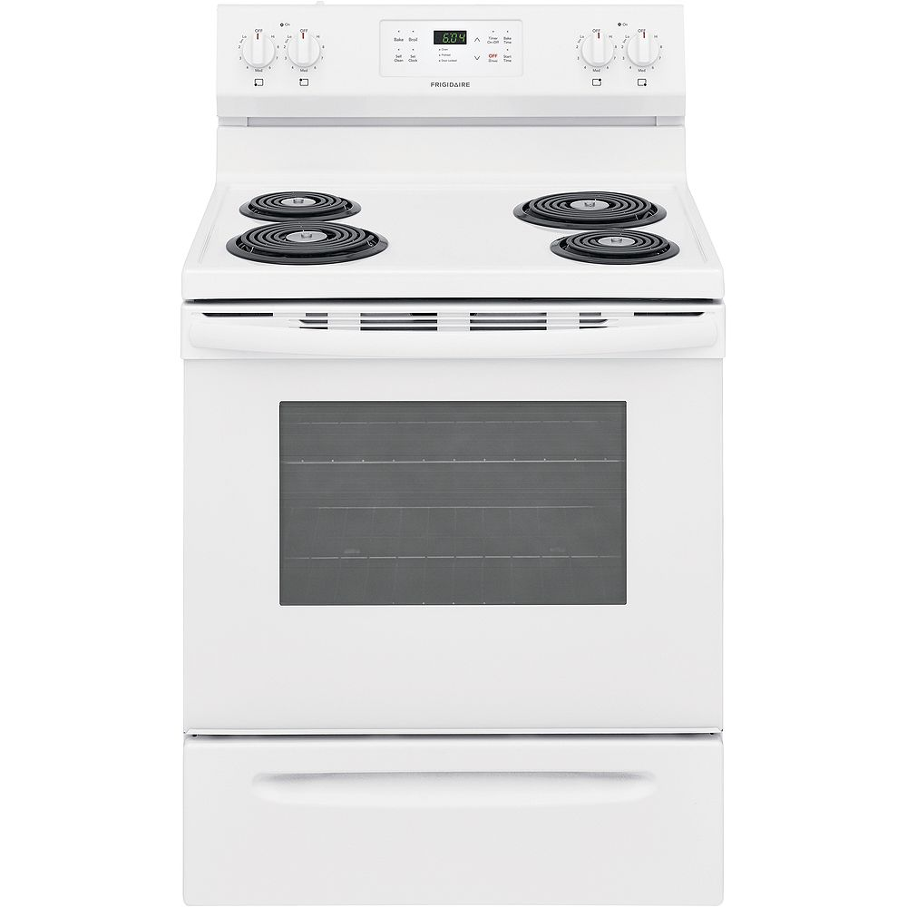 Frigidaire 30-inch 5.3 cu. ft. Freestanding Electric Coil Range with Self Clean Oven in White