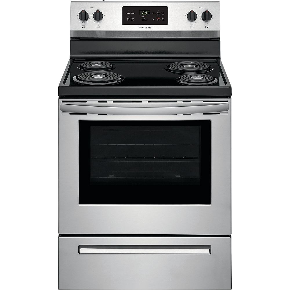 Frigidaire 30-inch 5.3 cu. ft. Freestanding Electric Coil Range with Self Clean Oven in Stainless Steel