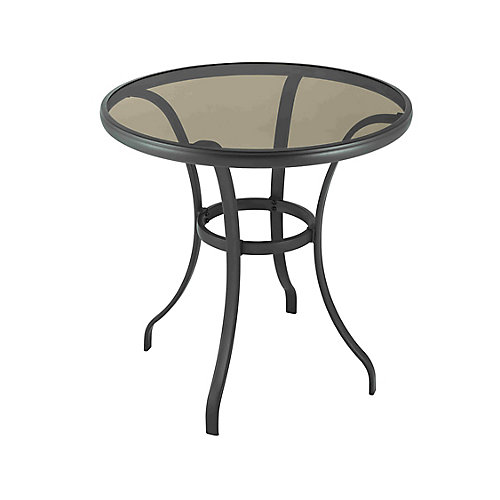 Mix and Match 28-inch Round Steel Patio Bistro Table with Glass Top