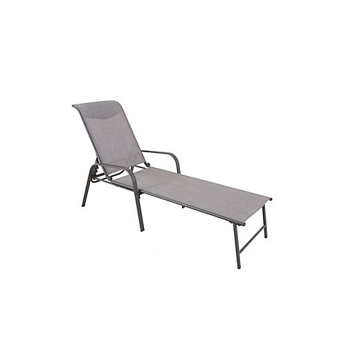 Mix and Match Steel Stackable Sling Patio Chaise Lounge in Riverbed Taupe with Headrest (Set of 2)
