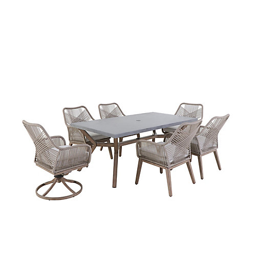 Luxley 7-Piece Wicker String Patio Chat Set with Beige Cushion
