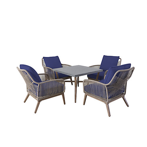 Luxley 5-Piece Wicker String Patio Chat Set with Navy Cushion