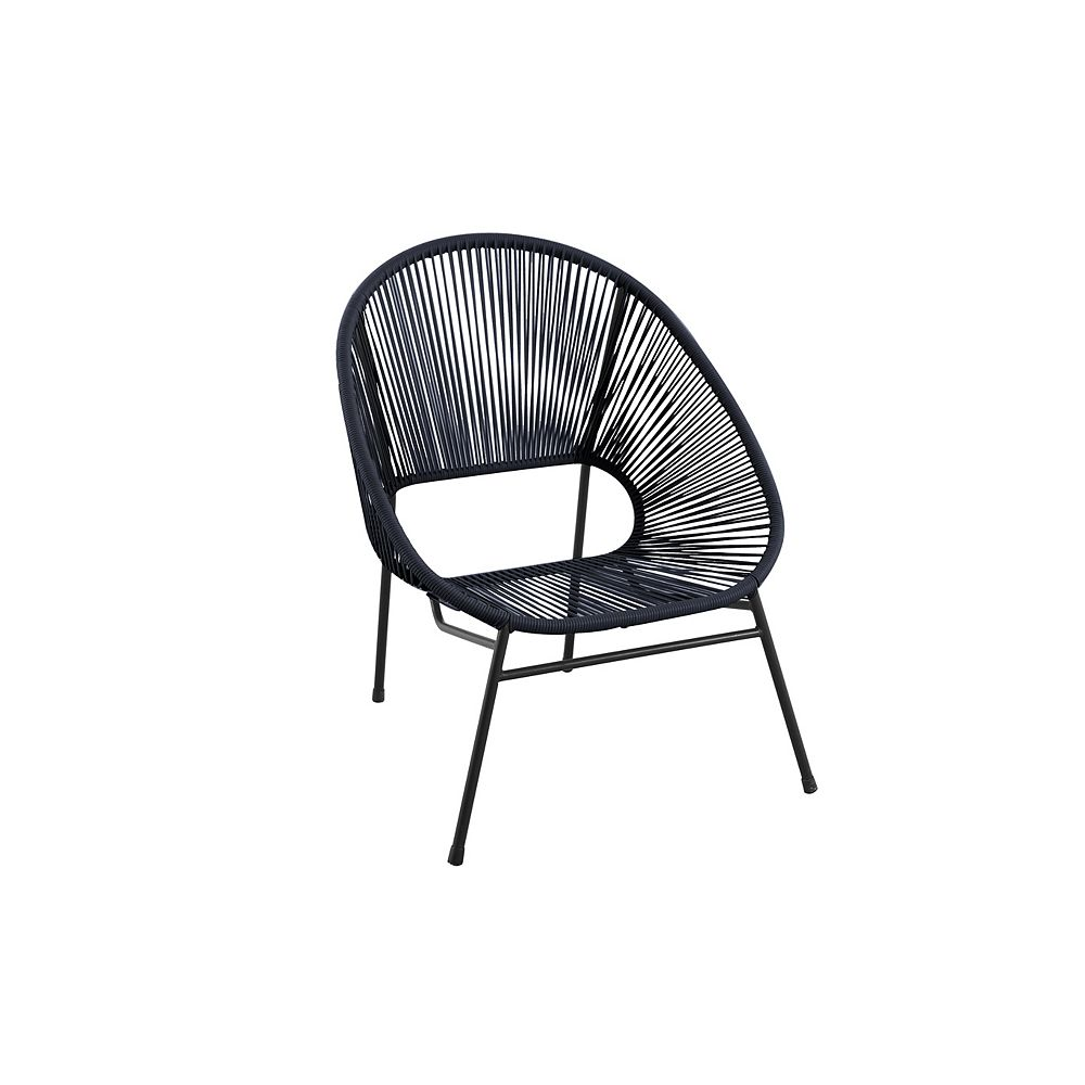 Hampton Bay Stacking Wicker and Steel Patio Egg Chair in Black