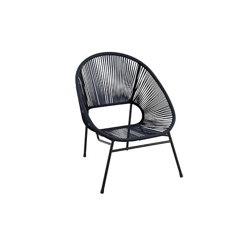 Stacking Wicker and Steel Patio Egg Chair in Black