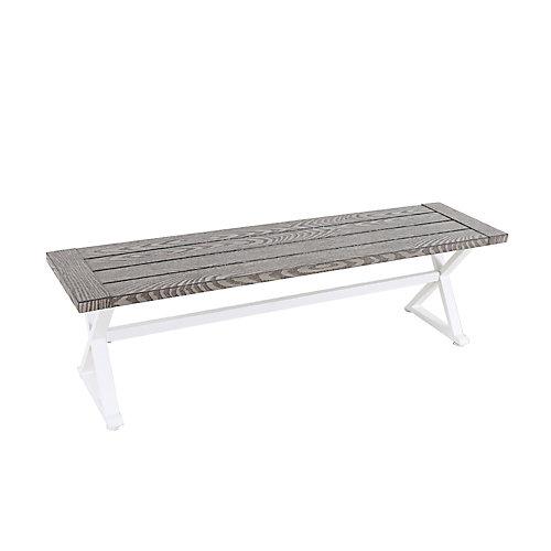 Beacon Park Steel Slat Patio Dining Bench in Grey