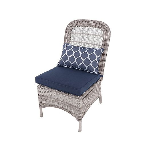 Beacon Park Wicker Armless Patio Dining Chair in Midnight (Set of 2)