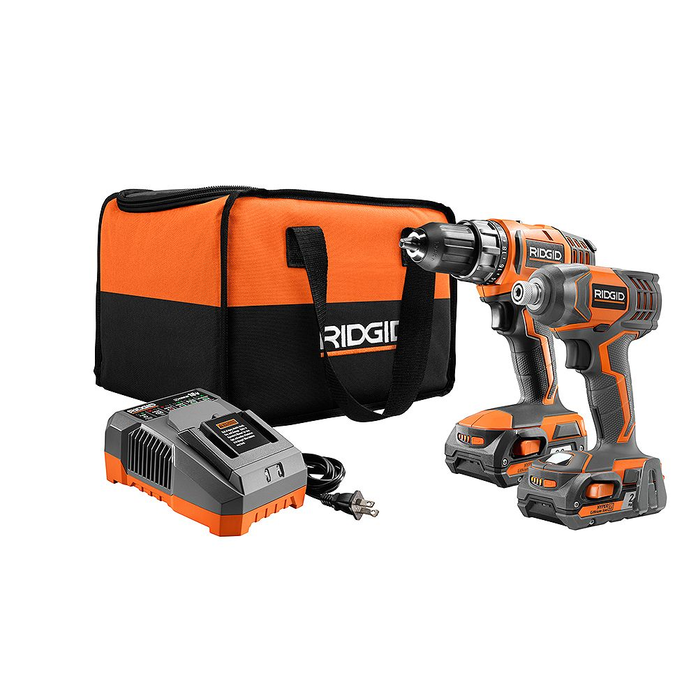 Ridgid 18v Lithium Ion Cordless Drill Driver And Impact Driver Combo Kit With 2 2 0ah Ba The Home Depot Canada