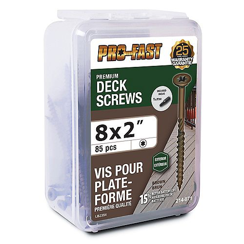PRO-FAST #8 x 2-inch Deck Screws in Brown - 85Pcs