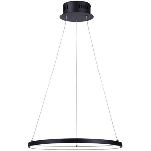 COSMO single ring LED matte black chandelier with acrylic lens