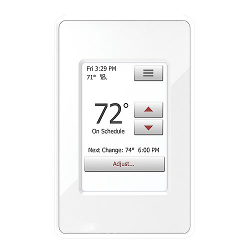 nSpire Touch 120V/240V Programmable Touch Thermostat with Floor Sensor, White