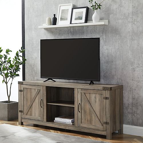 Farmhouse Barn Door TV Stand for TV's up to 64 inch - Grey Wash