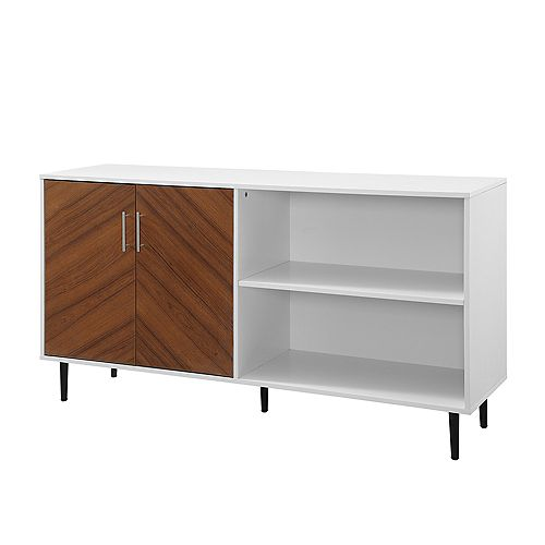 Welwick Designs Mid-Century Modern Chevron TV Stand for TV's up to 64 inch - Solid White