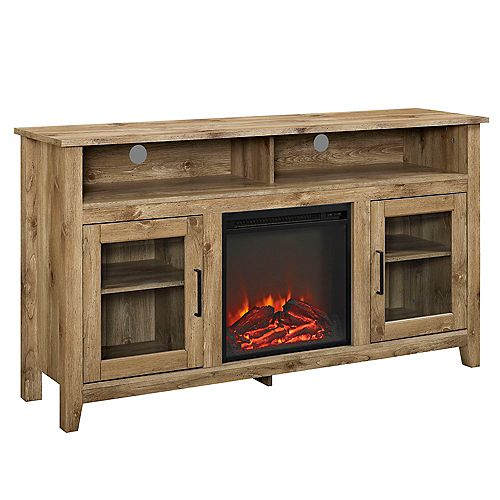 Tall Rustic Fireplace TV Stand for TV's up to 64 inch - Barnwood