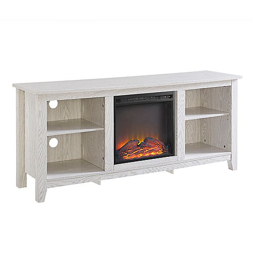 Minimal Farmhouse Fireplace TV Stand for TV's up to 64 inch- White Wash