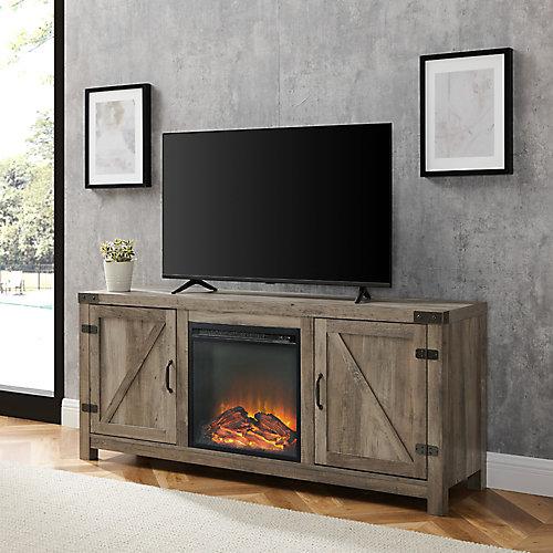 Meuble TV avec cheminée et porte de grange en bois de 147,32cm (58po) - Lavis gris