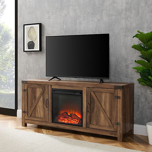 Farmhouse Barn Door Fireplace TV Stand for TV's up to 64 inch - Reclaimed Barnwood