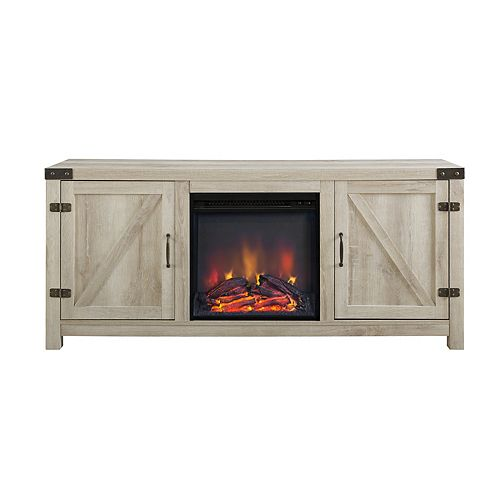 Farmhouse Barn Door Fireplace TV Stand for TV's up to 64 inch - White Oak