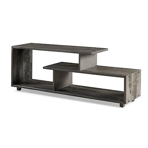 Rustic Modern Open Shelf TV Stand for TV's up to 66 inch - Grey