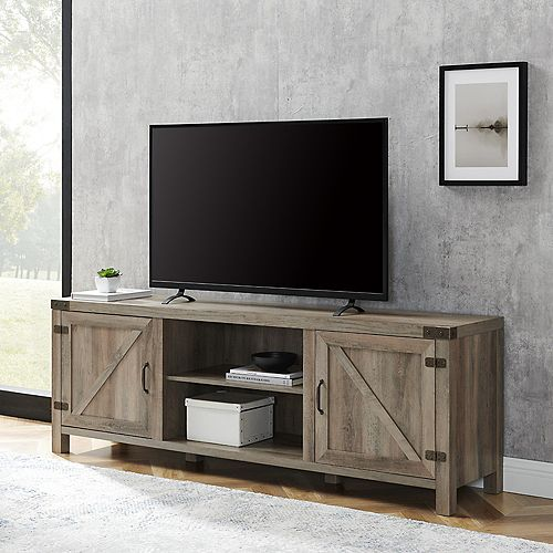 Welwick Designs Modern Farmhouse Barn Door TV Stand for TV's up to 78 inch- Grey Wash
