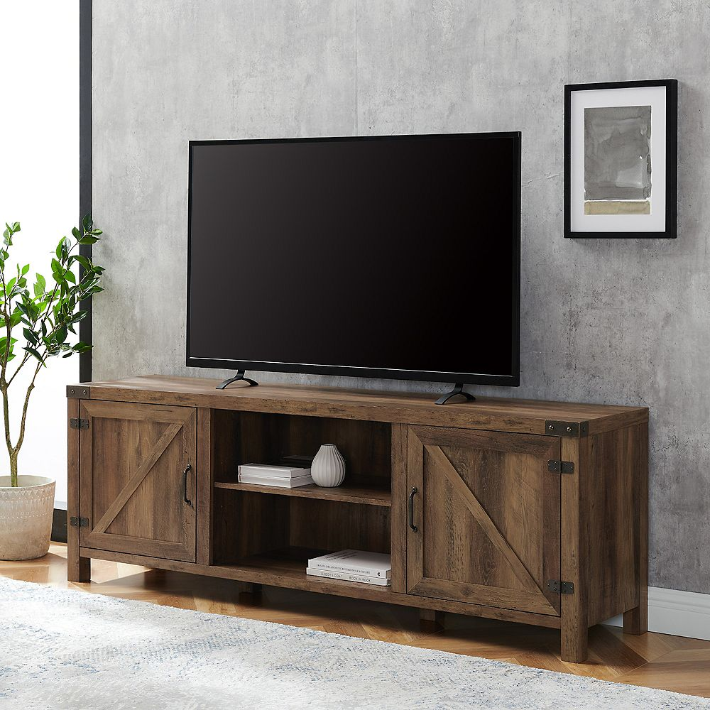 Welwick Designs Modern Farmhouse Barn Door TV Stand for TV's up to 78 inch- Reclaimed Barnwood