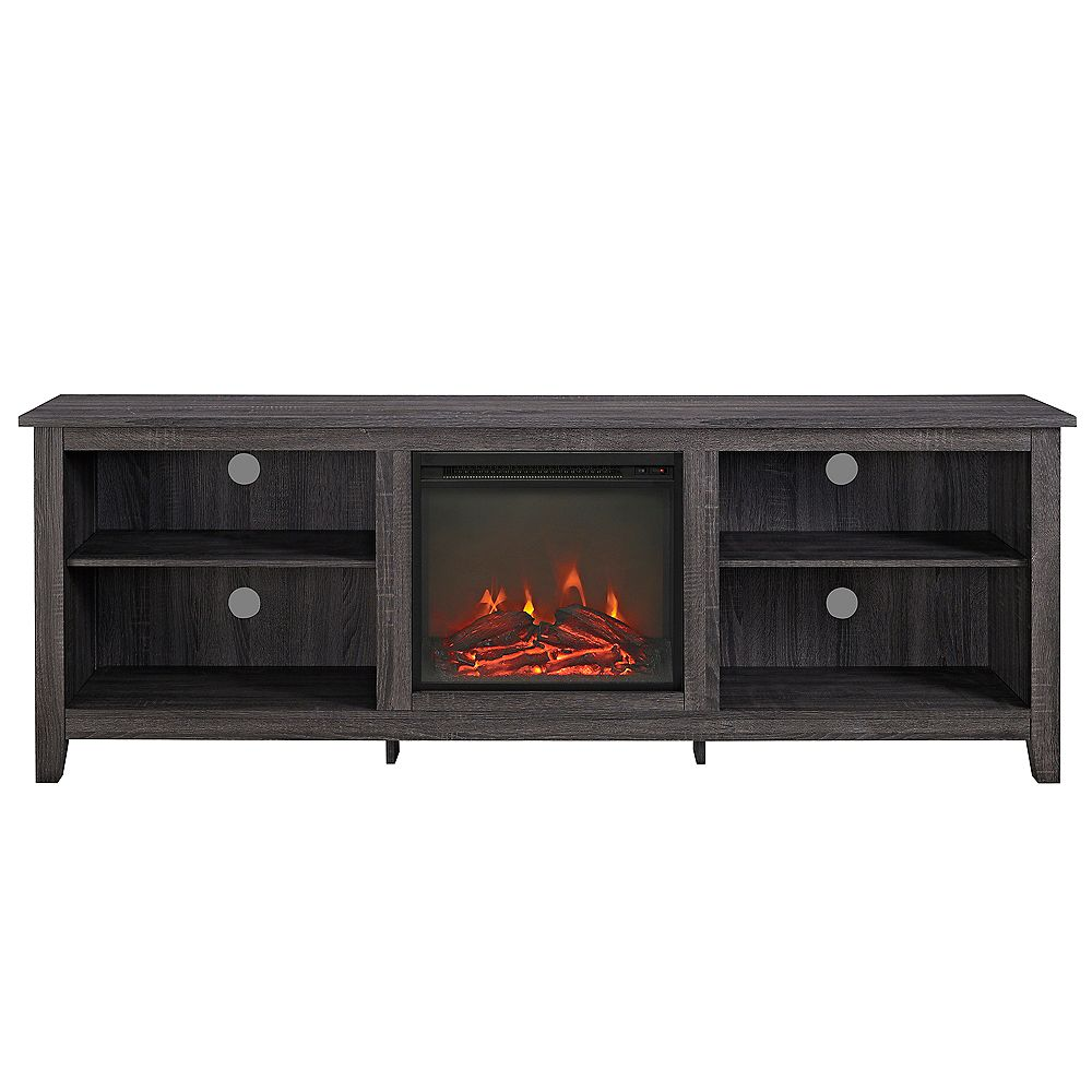 Welwick Designs Minimal Farmhouse Fireplace TV Stand for TV's up to 78 inch inch- Charcoal