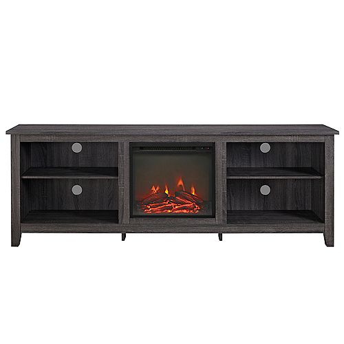 Minimal Farmhouse Fireplace TV Stand for TV's up to 78 inch inch- Charcoal