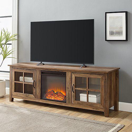 Minimal Farmhouse TV Stand for TV's up to 78 inch- Dark Walnut