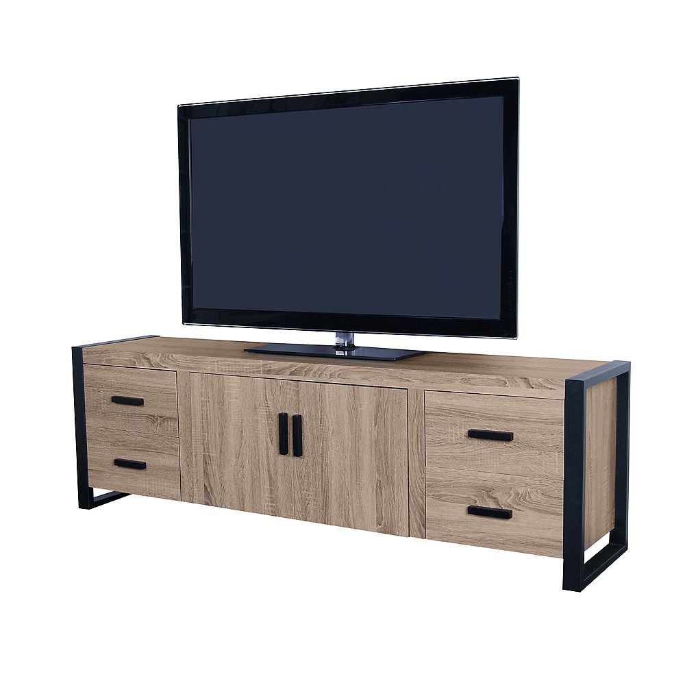 Welwick Designs Industrial Wood and Metal TV Stand for TV's up to 78 inch - Driftwood