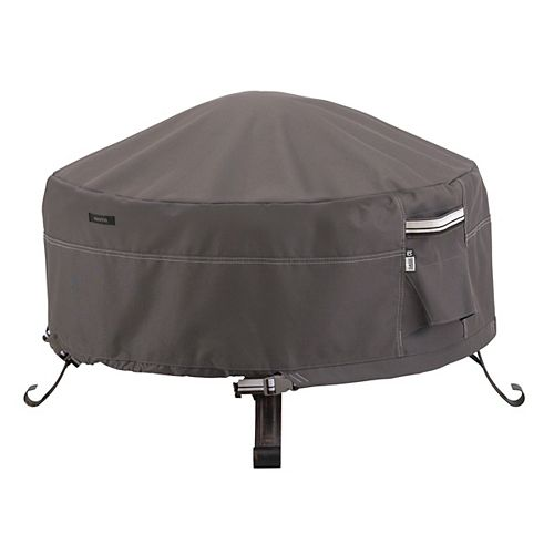 Ravenna Full Coverage Round Fire Pit Cover - Outdoor Cover with Water Resistant Fabric, Large