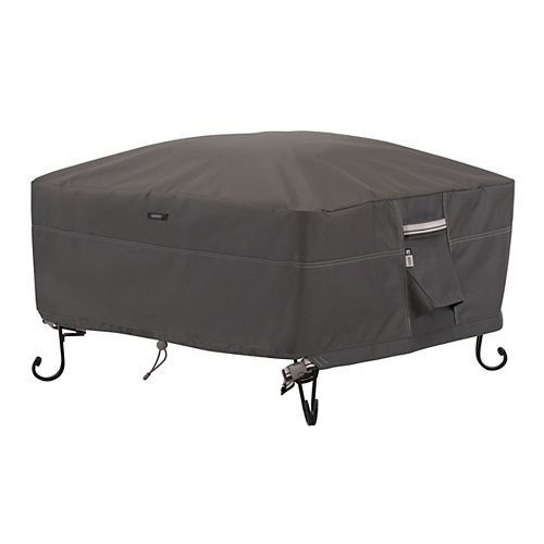 Classic Accessories Ravenna Full Coverage Square Fire Pit Cover - Outdoor Cover with Water Resistant Fabric, Small