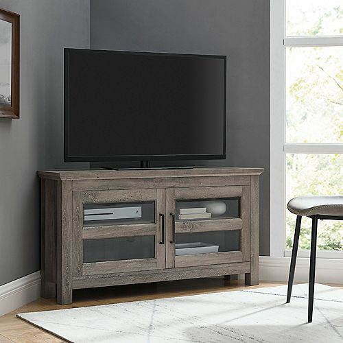 Modern Farmhouse Corner TV Stand for TV's up to 48 inch - Grey Wash