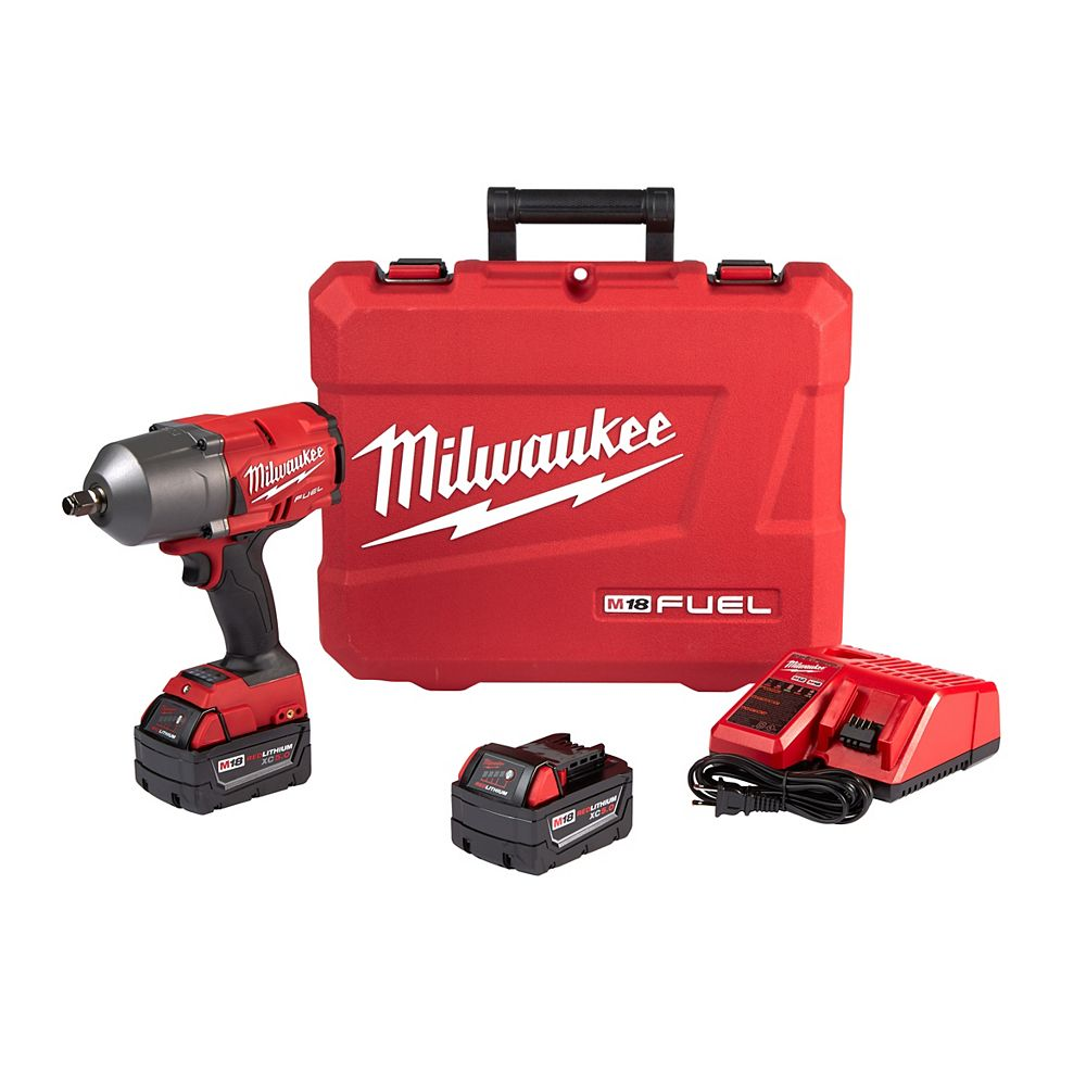 Milwaukee Tool M18 FUEL 18-Volt Cordless 1/2 in. Impact Wrench with Friction Ring Kit W/ Two 5.0 Ah Batteries 2767-22