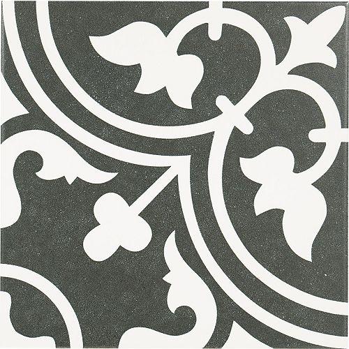 Arte Midelt Black 9-3/4-Inch X 9-3/4-Inch Porcelain Floor & Wall Tile (10.76 Sq. Ft./ Case)