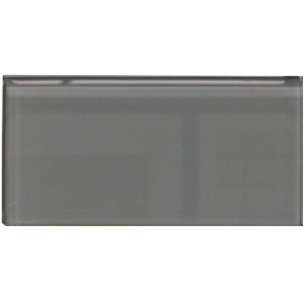 Modamo Carreau pour murs Bottle, 3 po x 6 po, verre, gris charbon