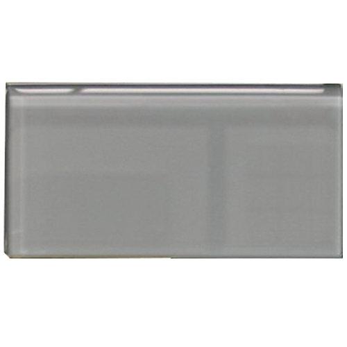 Carreau pour murs Bottle, 3 po x 6 po, verre, gris