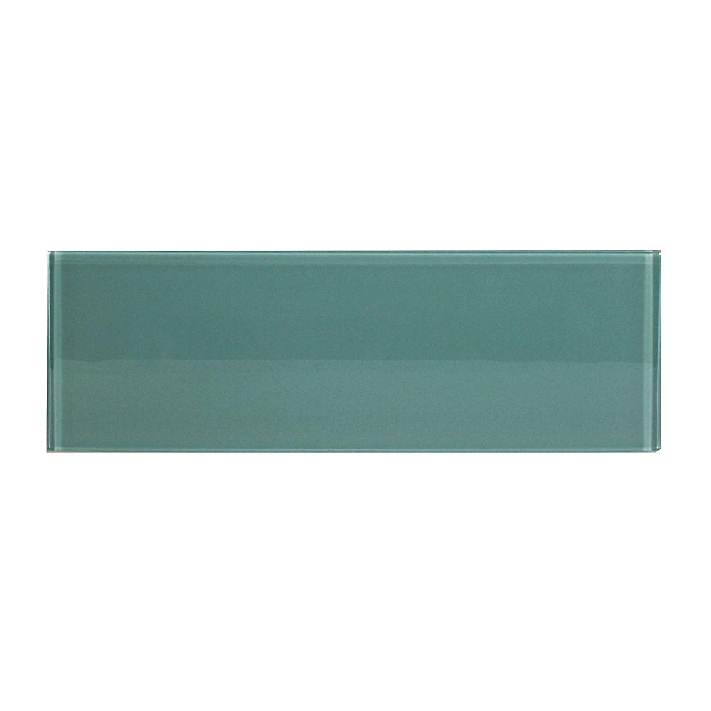 Modamo Carreau pour murs Bottle, 3 7/8 po x 11 3/4 po, verre, bleu aqua