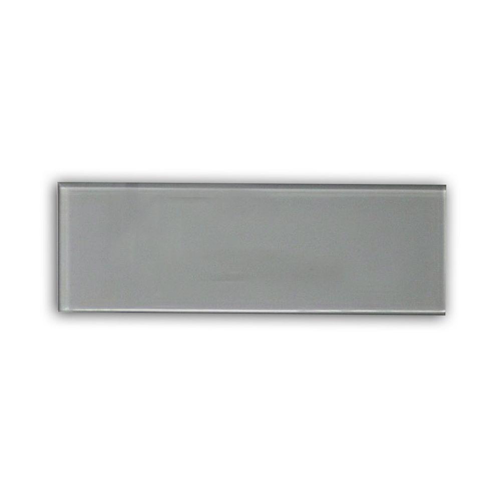 Modamo Carreau pour murs Bottle, 4 po x 12 po, verre, gris