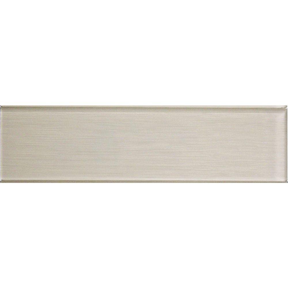 Modamo Carreau pour murs Acadia, 4 po x 15 3/4 po, verre, blanc