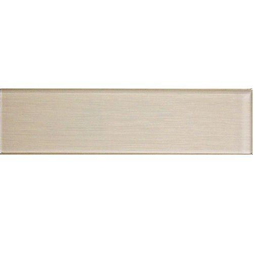 Carreau pour murs Acadia, 4 po x 16 po, verre, blanc ivoire